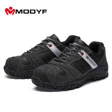Modyf Mens Steel Toe Cap work Safety shoe genuine  leather casual Anti-kick footwear Outdoor puncture proof boot