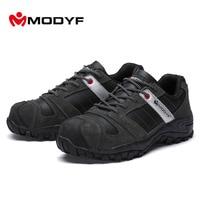 Modyf Mens Steel Toe Cap Work Safety Shoe Boots Genuine Winter Autumn Work Motorcyle Ankle Boot
