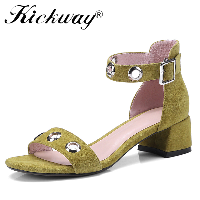 23fc3c7f44 Kickway Thick Heel Sandals Women 2018 Summer Comfortable Med Heels Open Toe  Fashion Pumps Shoes Woman Casual sandalias mujer