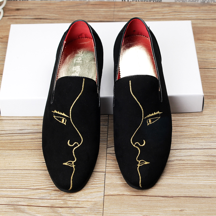 British fashion men office wedding velvet cow leather shoes breathable summer print slip on oxford shoe pointed toe loafer male