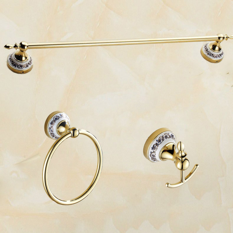 Golden porcelain Copper bathroom accessories cloth Hook single Towel Bar bathroom towel ring holder wall towel rack bathroom towel racks wall hook bar double pole single pole rack bathroom