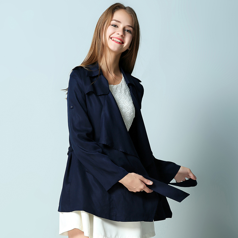 Short trench coat women double breasted belted trench coat navy ...