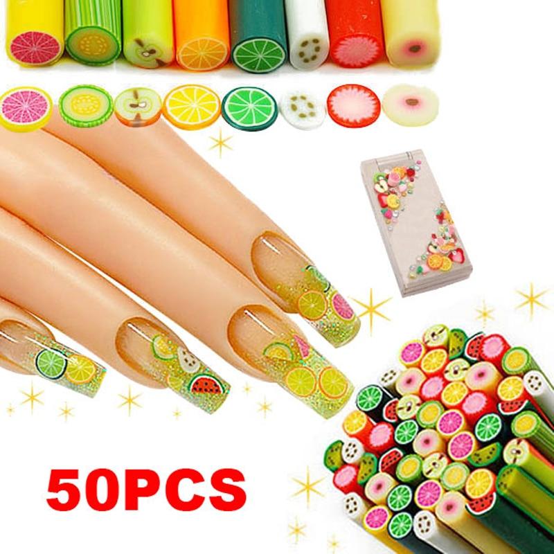 50Pcs DIY Nail Art Fimo Fruit Decoration Slice Rod Sticks Sale SK88