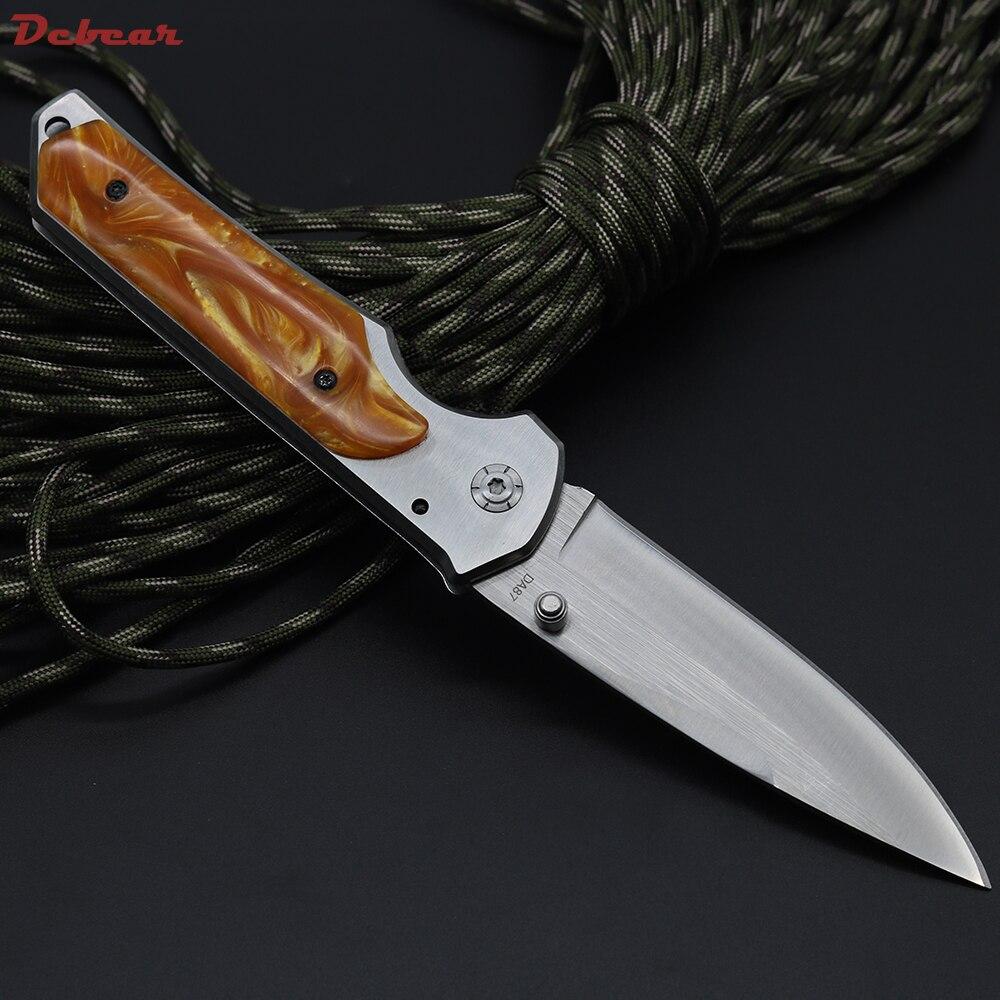 Dcbear font b Tactical b font Survival Folding font b Knife b font 440C Blade Steel