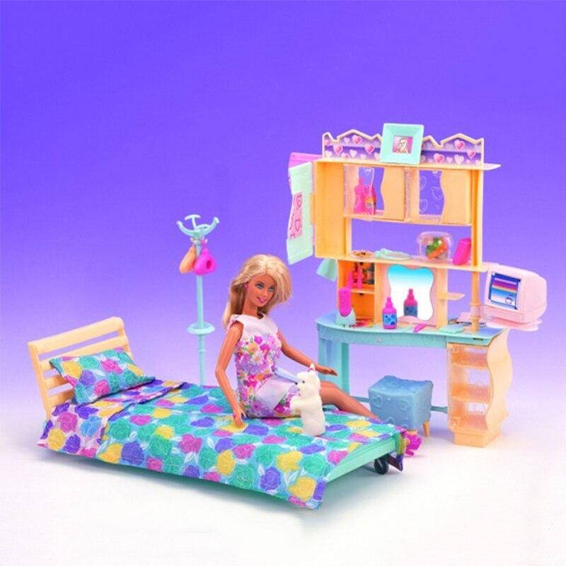 US $22.69 43% di SCONTO|Mobili in miniatura del Vestito Morbido Giallo  Camera Da Letto Mini Accessori per la Casa di Bambola Barbie Giocattoli ...