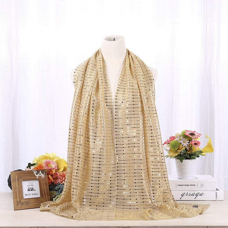 "Купить с кэшбэком Fashion Muslim Shimmer Visose Hijabs Scarf Female Gold Sliver Glitters Scarf Shawl Pashmina Sequins Long Head Scarf 70""x 26"""