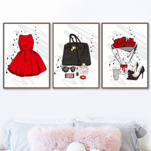Paris Perfume Lipstick Skirt Wall Art Canvas Painting Nordic Posters And Prints Fashion Pictures For Living Room Home Decor