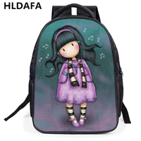2017 New Brand 3D Printing Nylon Backpack For Girls Cartoon Students School Shoulder Bags Woman Cute