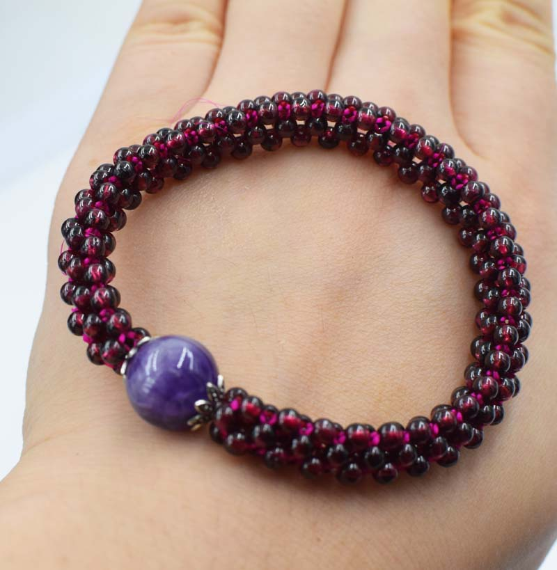 garnet round red and amethyst pink quartz bracelet 7.5inch wholesale beads nature handcr ...