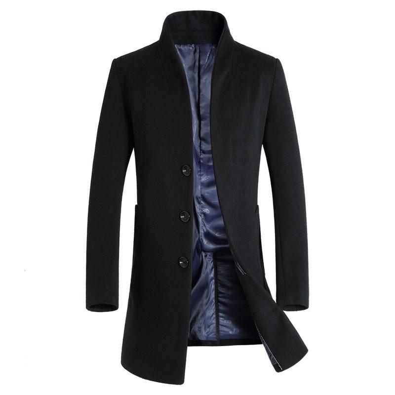 Erkek Kıyafeti'ten Yün ve Karışımları'de 2019 Yeni Uzun Yün Ceket Erkekler Moda Bezelye Ceket Ceket Yün ve Karışımları kışlık ceketler Erkek Yün Palto'da  Grup 1