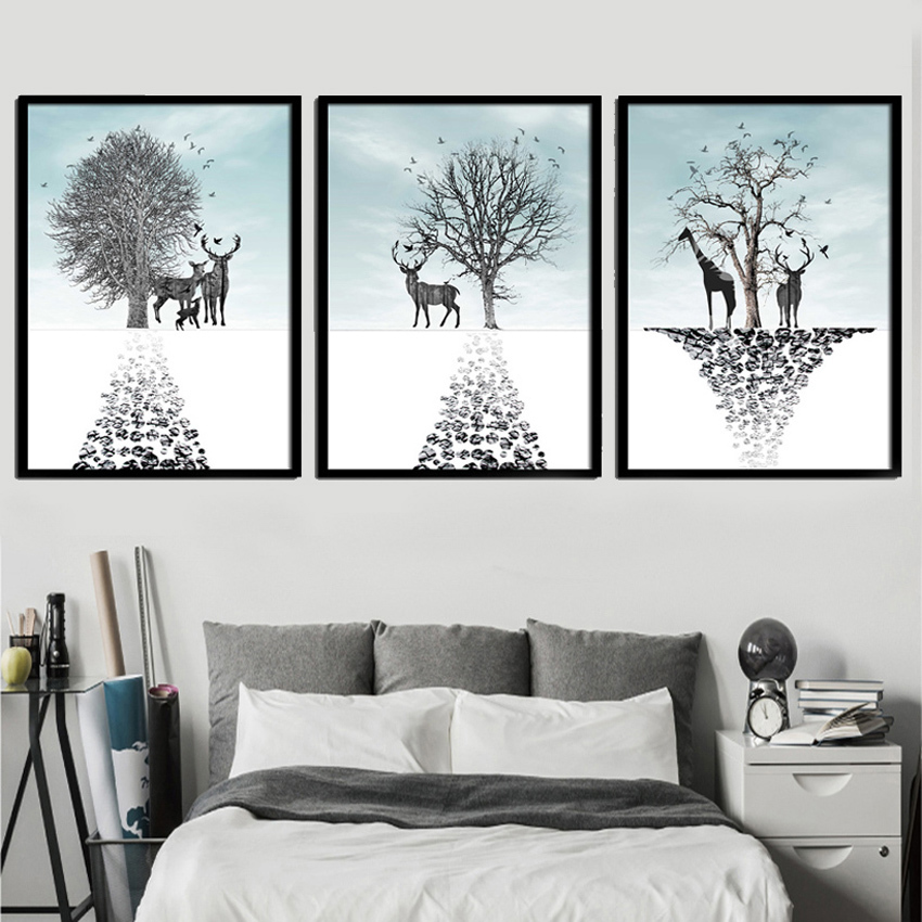 SVITY Wall Art Canvas Painting Animal Deer Pictures For