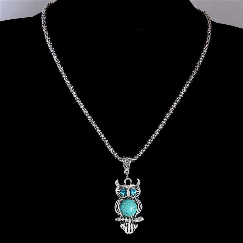 HTB1BZIvJVXXXXbmXpXXq6xXFXXXP - SHUANGR High quality natural stone blue eyes owl necklace pendant silver color necklace vintage jewelry for wowen collier