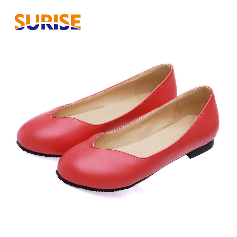Big Size Casual Women Flats PU Leather Round Toe Low Heels Ballets Spring Summer Office Dress Ballerian Boat Red Ladies Shoes weowalk 5 colors chinese dragon embroidery women s old beijing shoes ladies casual cotton driving ballets flats big size 34 41