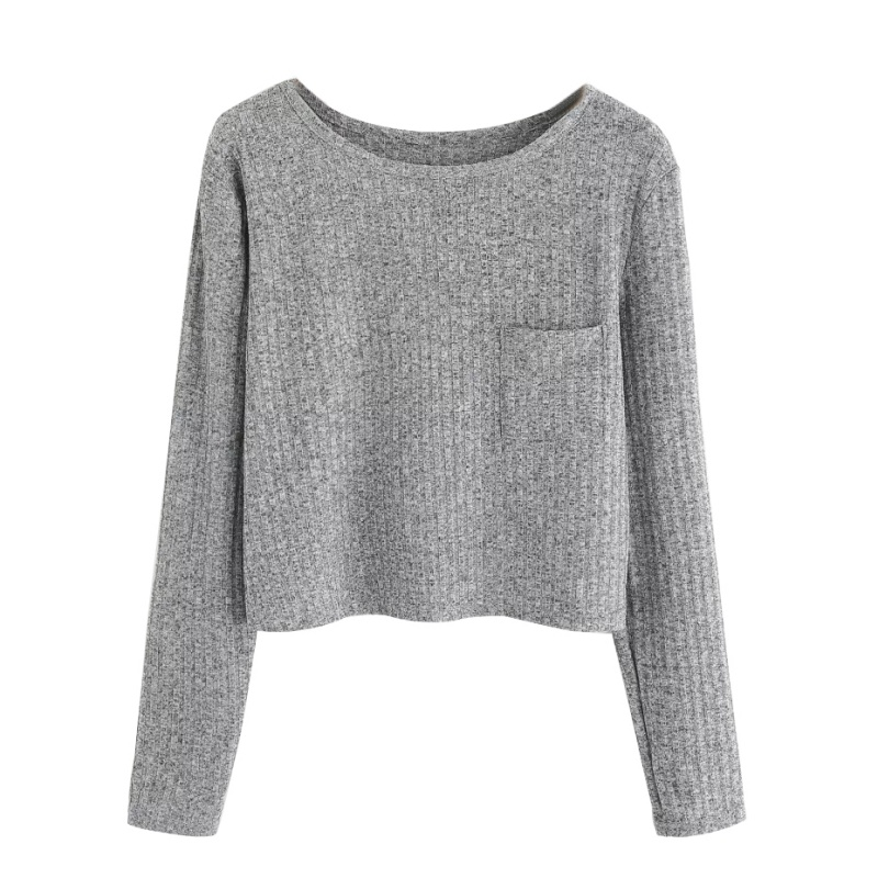 Women Autumn Winter Pocket O-neck Plus Size Loose Wool Knitting Long-sleeved Short T-shirt sweet Tops 2018 newest