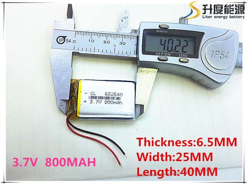 3.7V Lithium Polymer Battery 6.5*2540 652540 800mAh MP3 MP4 GPS Bluetooth 6.5*25*40mm Lithium Battery Small Stereo Bluetooth GPS