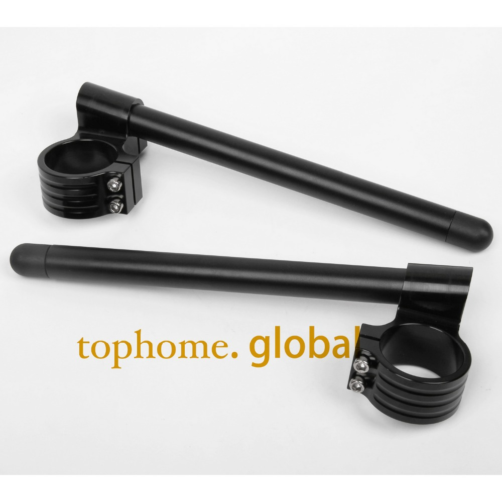 Motorcycle Universal Racing CNC higher Raised 50mm Clip on Ons clipon Fork Handle Bars handlebars Black
