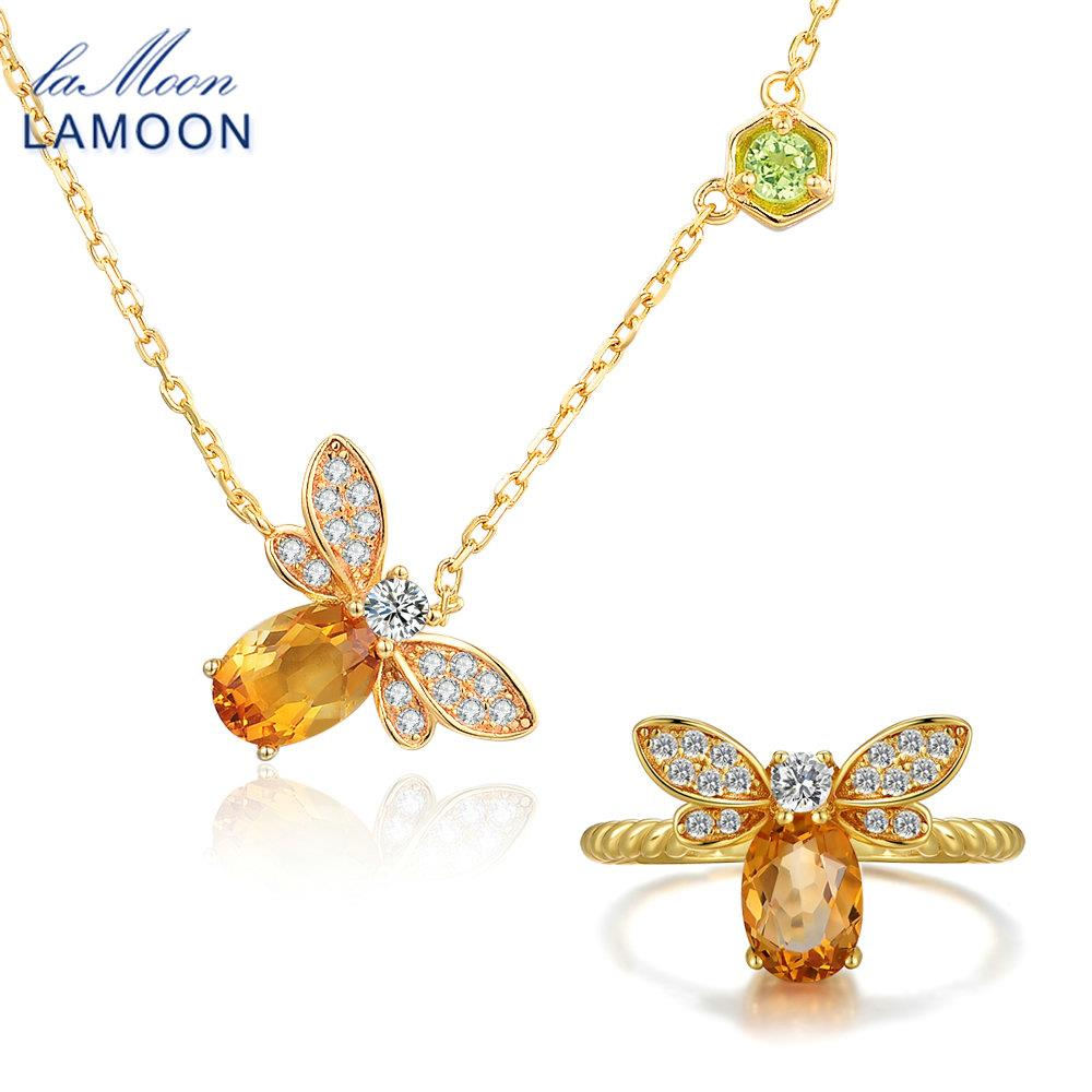 LAMOON Bee 5x7mm 1ct 100% Natural Citrine 925 Sterling Silver Jewelry S925 Jewelry Set V027-2 handmade geometric woven sandal anklets