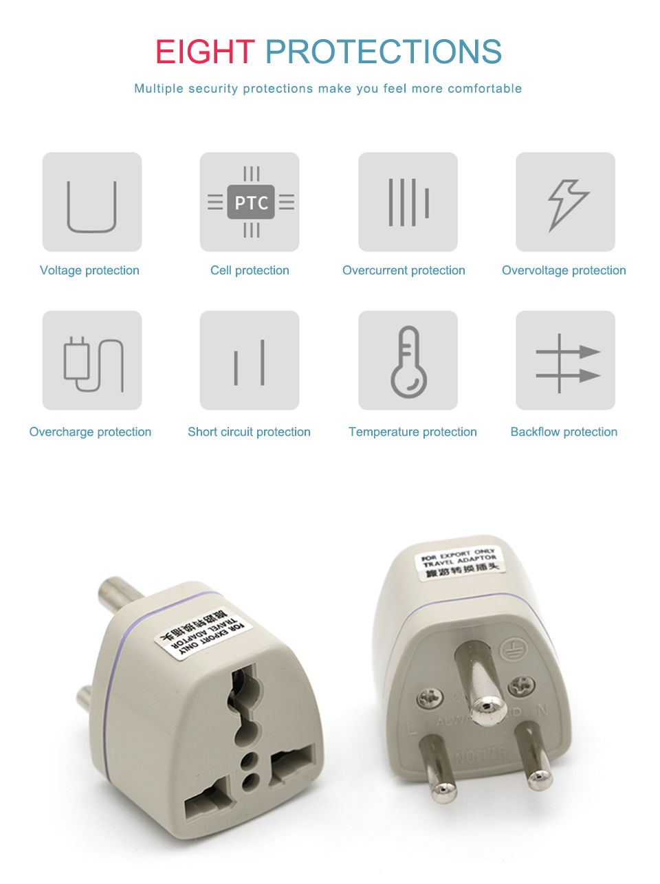 Universal UKUSEUAU to Small South Africa Plug AC Power Multi Outlet Adapter 3 pin Travel Converter Socket India travel (9)