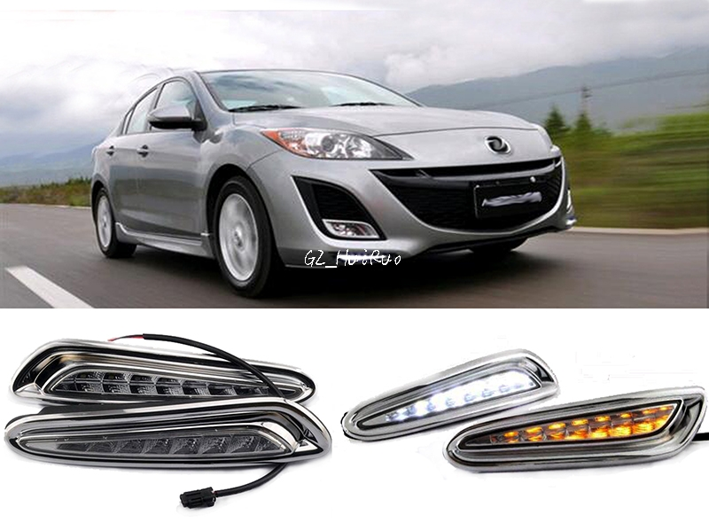 ФОТО White+Yellow LED Daytime Running Light For Mazda 3 Axela Car Fog Lamp DRL 2010 2011 2012 2013