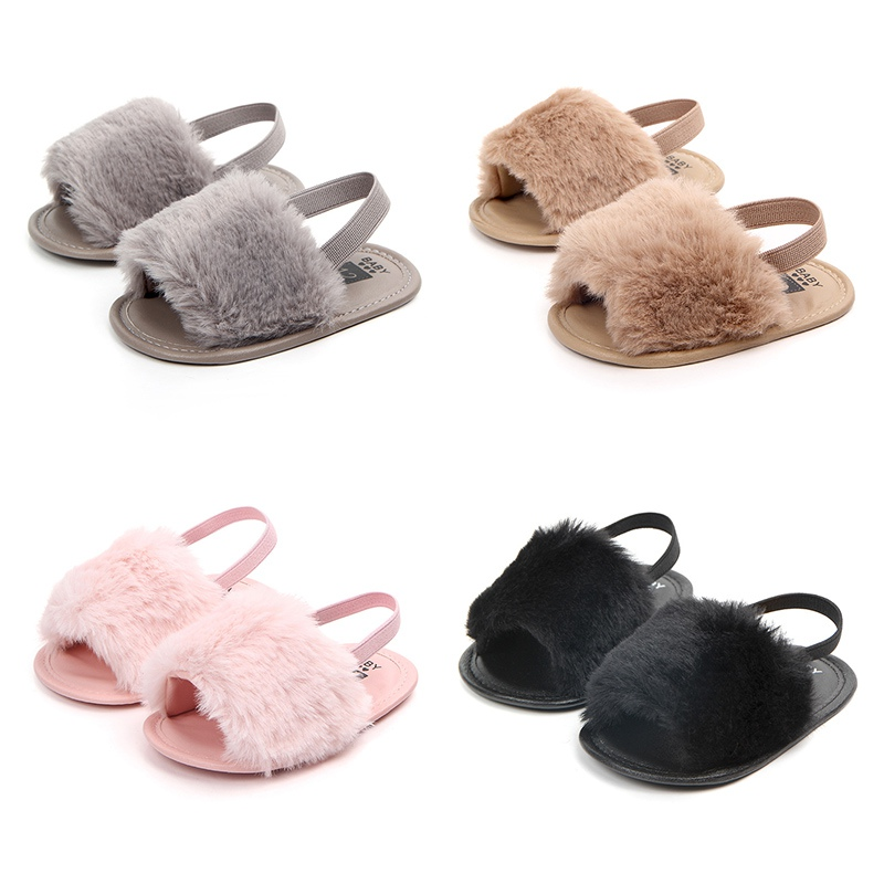 Sandals For Girls Summer Baby Shoes Newborn Pu Plush Baby Girl Sandals Fashion Home Sandals Cotton Soft Bottom Baby Girl Shoes