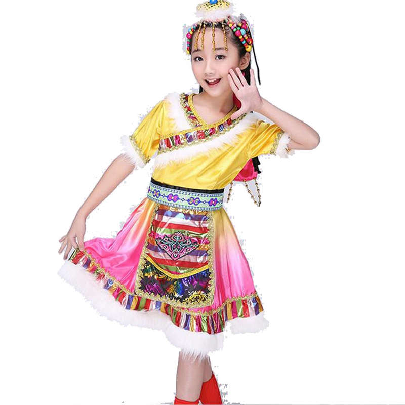 Modern chinese folk dance costume traditional dance dress water sleeve chinese costume national costume With Headress
