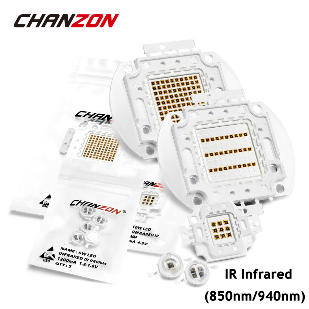 Chip LED de alta potencia infrarrojo IR, 850nm, 940nm, 3W, 5W, 10W, 20W, 50W, 100W, matriz de lámpara de luz del emisor, 850, 940 nm para cámara de visión nocturna