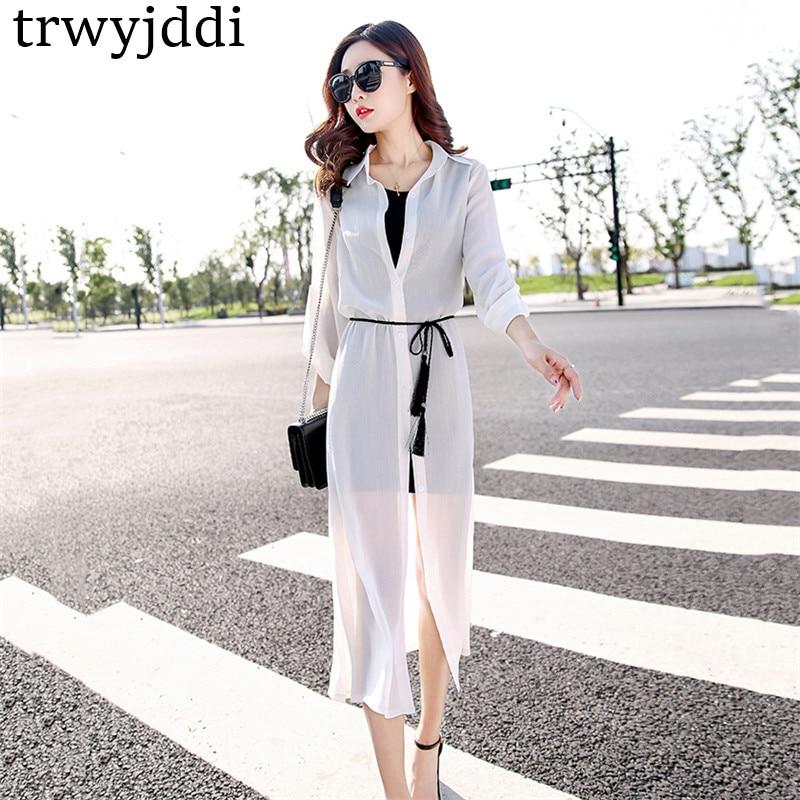 2018 New Summer Women Chiffon Shirt Sun Protection Clothing Plus Size Beach Shawl Cardigan Fashion Thin Long Shirts Belt ld462