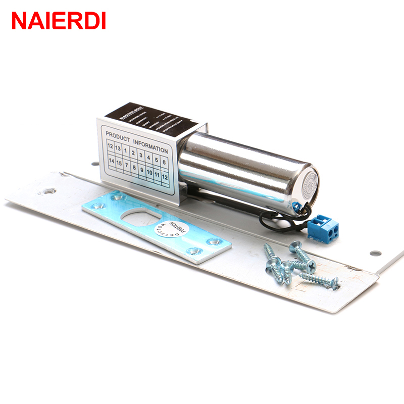 NAIERDI DC 12V Electric Drop Bolt Door Lock 2-Lines Magnetic Induction Auto Deadbolt Locks For Security Access Control Systems цена