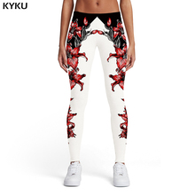 KYKU Flower Leggings Women Harajuku Printed pants Black And White Sexy Gothic Trousers Art Spandex Womens Pants