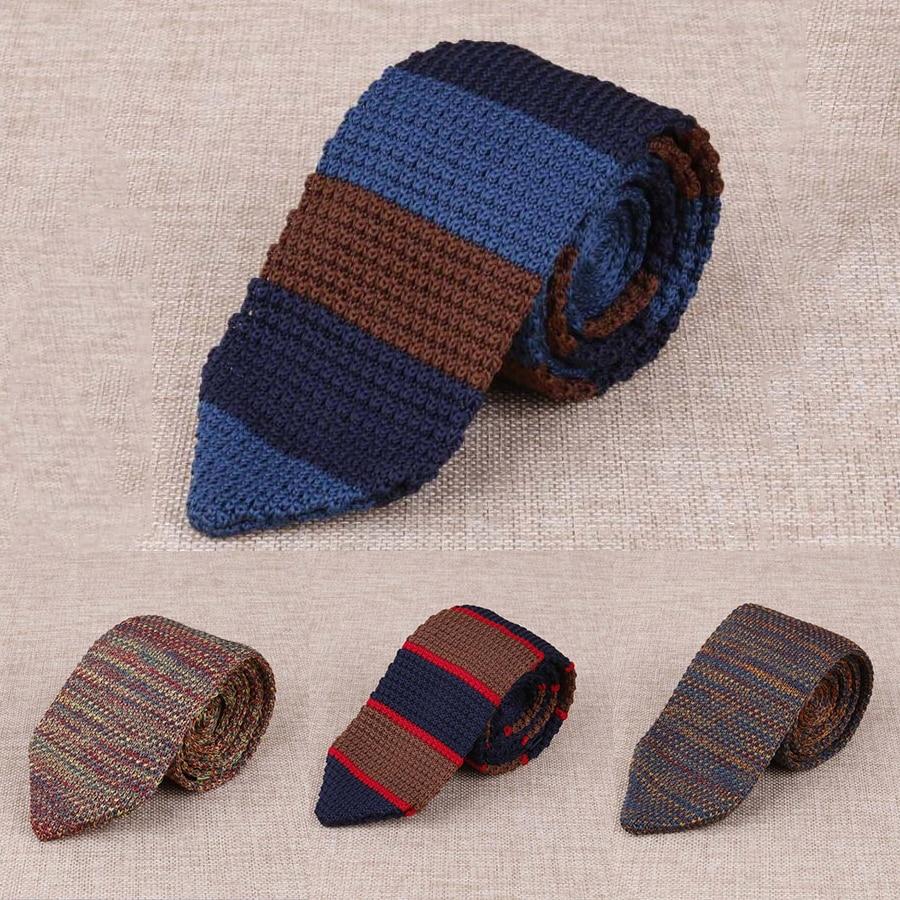 RBOCOTT Brown Knitted Tie 7 Cm Men's Fashion Skinny Necktie Striped Colorfull Slim Neck Ties For Wedding Business Neckwear
