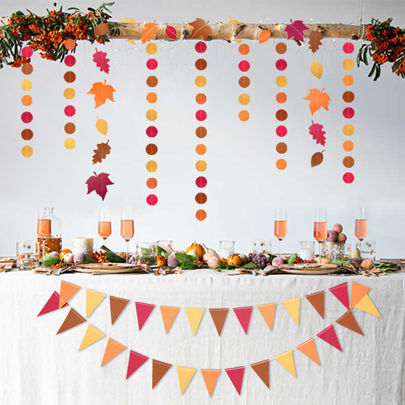3Meter 28 Flags Red Orange Yellow Triangle Autumn theme Paper Banner Flags For Thanksgiving Party Decoration
