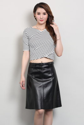2019 New Fashion Real Sheep Leather Skirt O2