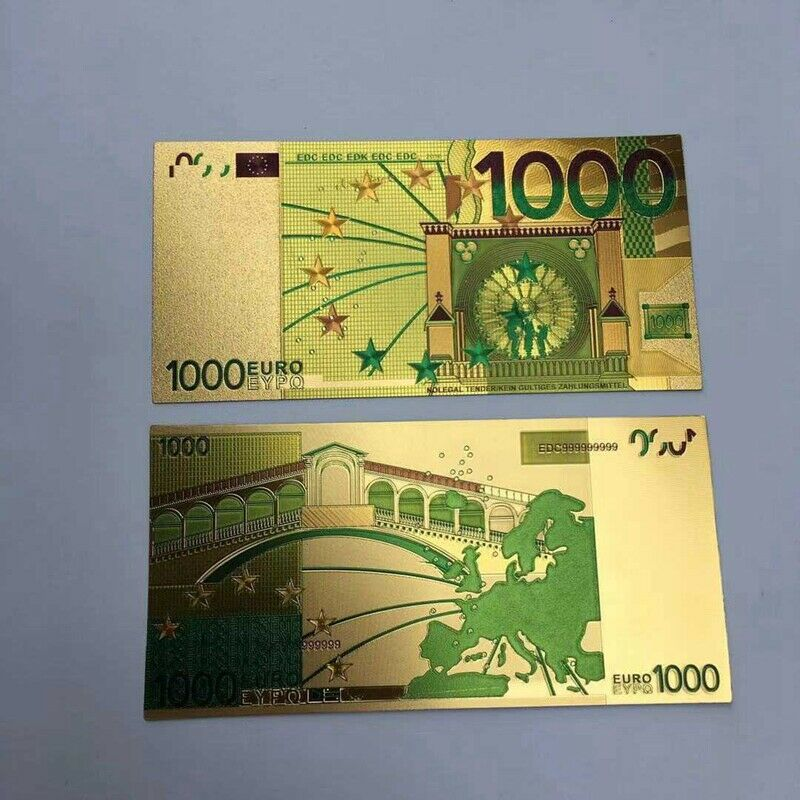 10 шт., евро 1000, Золотая фольга для банкнот, валюта банкнот