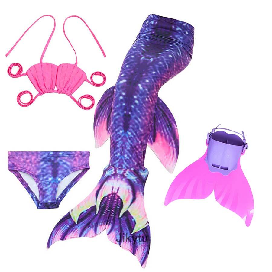 4PCS/Set Swimming Mermaid Tail with Monofin Swim Tail Mermaid Costume Cosplay Children Kids Girls Swimwear Swimsuit Bathing Suit