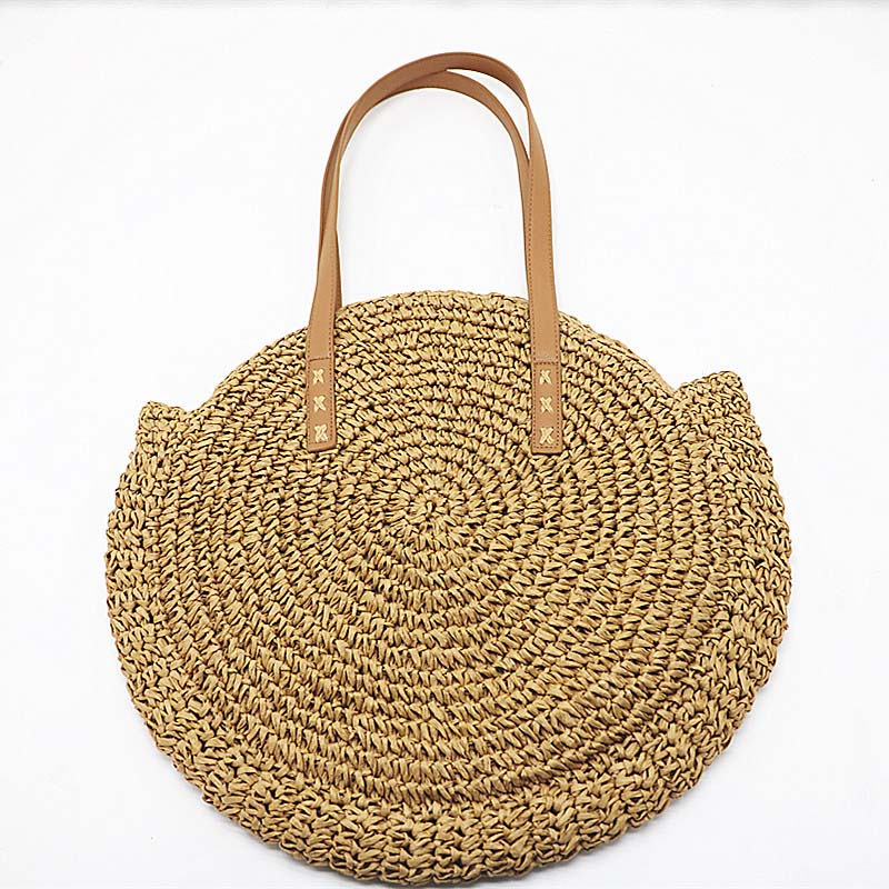 2018 Hand Woven Round Woman S Shoulder Handbag Bohemian Summer Straw ... 74f16af631494