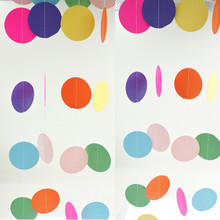 Paper Garland Strings Circle Wedding Party Baby Shower Hanging Decoration 9 Colors New Creative Room Decoration 2pcs