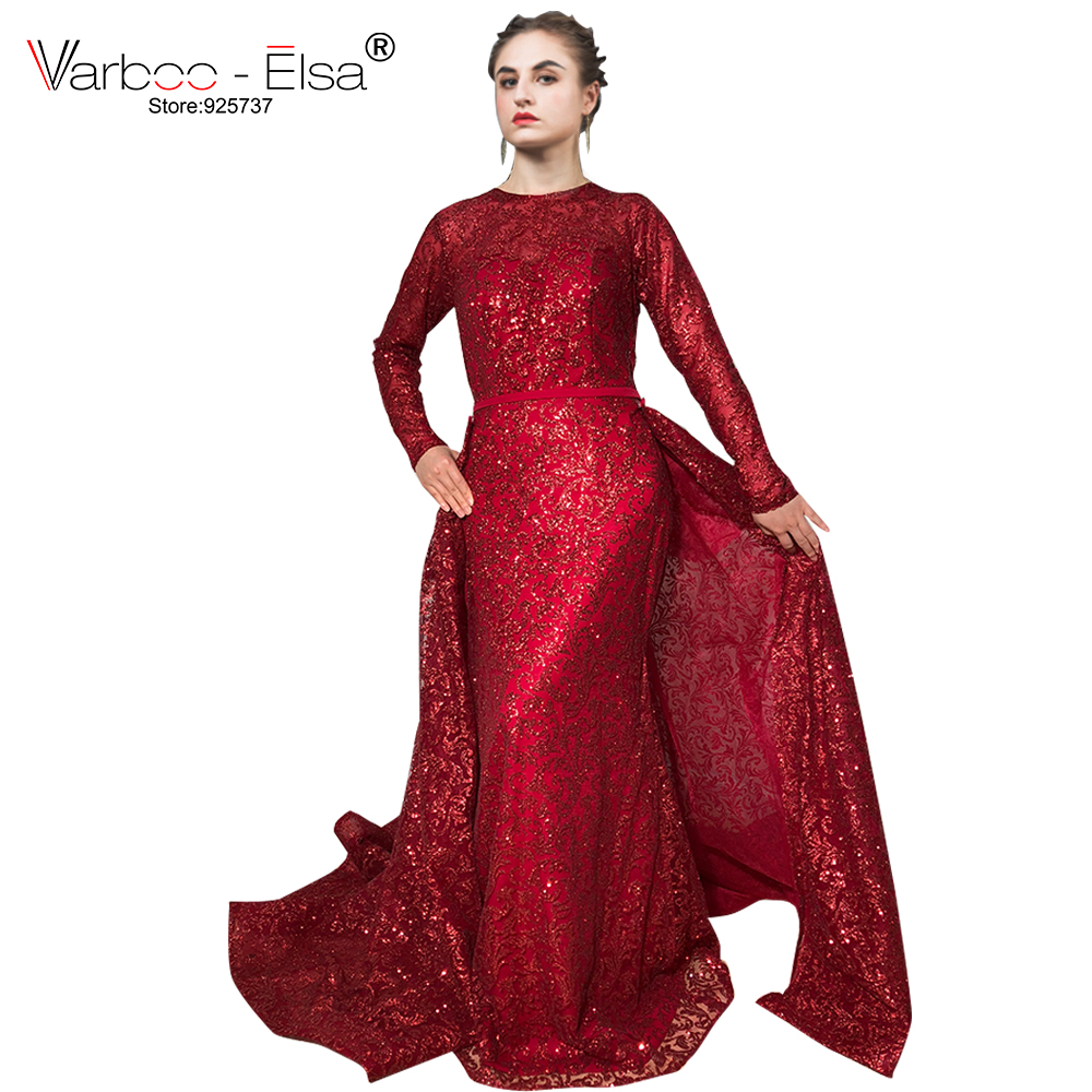 VARBOO_ELSA Luxury Wine Red Glitter Mermaid Evening Dress 2018 Hot Sale New Long Sleeves Gliter With Train Detachable Prom Dress(China)