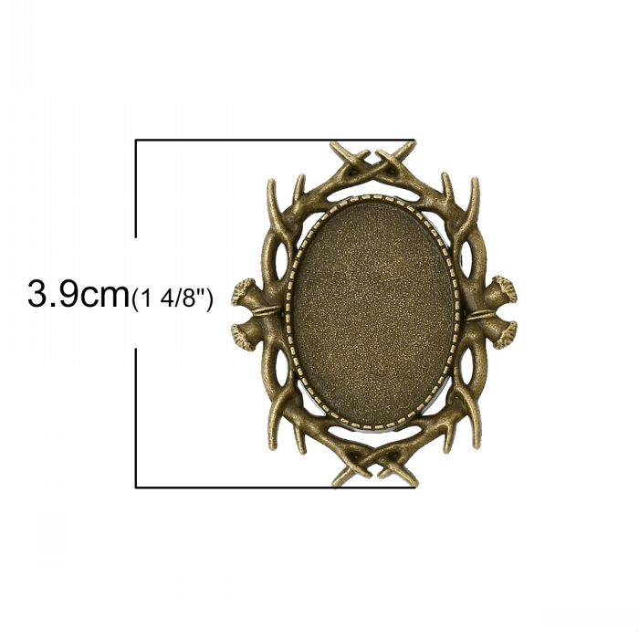 DoreenBeads Cameo Frame Setting Brooches Findings Oval Antique ...