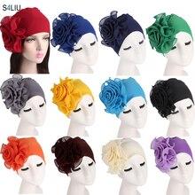 ใหม่ผู้หญิงมุสลิมดอกไม้หมวกหมวกยืด Turban ยืดหยุ่น Bonnet Chemo หมวกสูญเสียผมมะเร็งหมวก Headscarf Wrap แอฟริกัน Bandanas