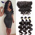 Good Cheap 13*4 Lace Frontal Closure With Bundles Eurasian Virgin Hair With Closure 100 Human Hair Body Wave With Frontals
