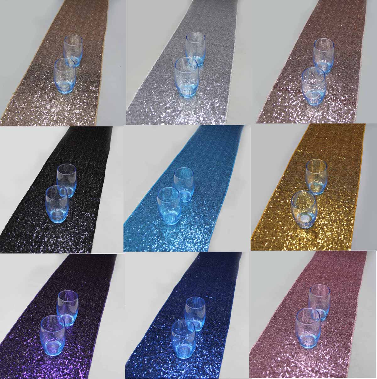 10 Pieces 30cmx274cm(12*108) Luxury Gold Sequin Table Runner Wedding Party Table Decoration Solid Color Gold Table Runners