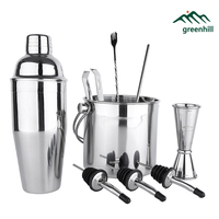 Greenhill 9 Pieces Barware Set / Cocktail shaker set including 750ml shaker & 3L Ice Bucket / Tong / Jigger / Spoon / Straw