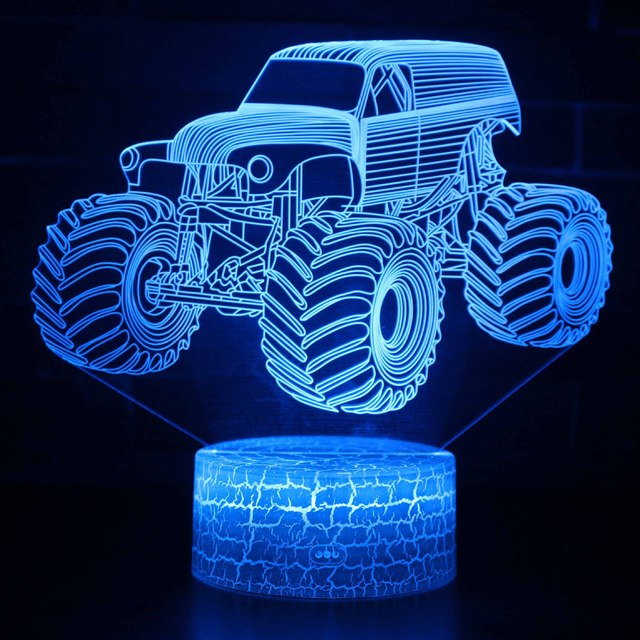 Hot Off-road Vehicle Led 3d Light Fixtures Remote Control Creative Colorful l Night Lamp Room Kids Lights Lamps