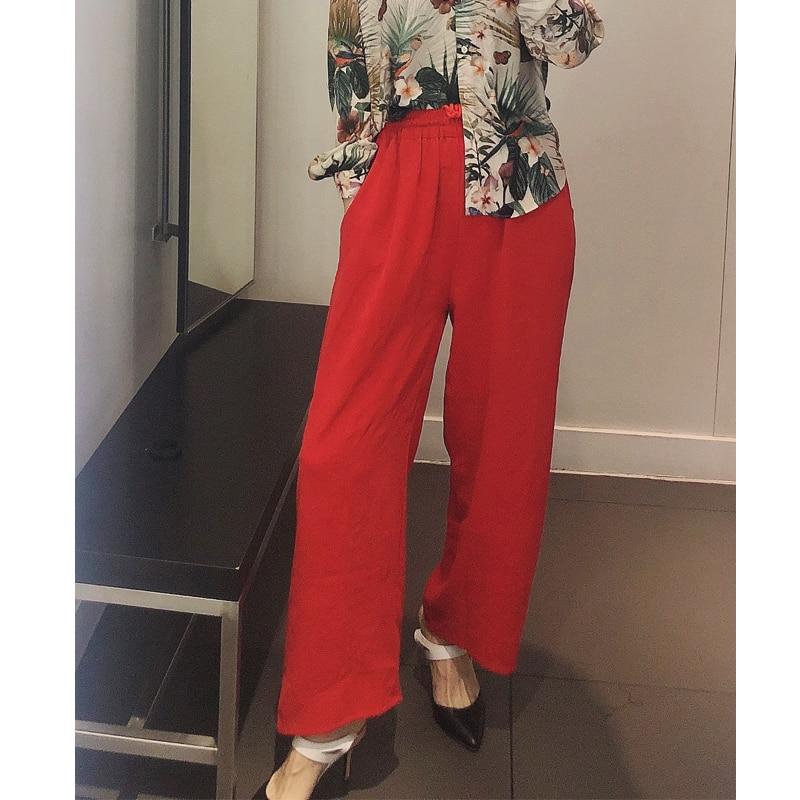 Vintage Primavera Trabajo Natural Pierna Mujer Pantalones Suelto Vacaciones Moda Estilo De Verano Ropa Rojo Ancha Seda USrAnwdvSq
