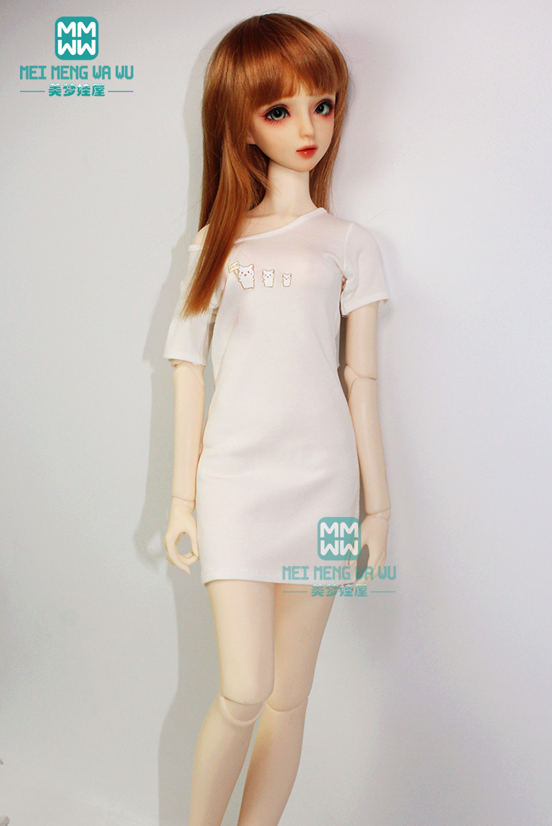 <font><b>BJD</b></font> accessories doll <font><b>clothes</b></font> fits 60cm <font><b>1/3</b></font> <font><b>BJD</b></font> doll fashion underwear and medium-length temperament T-shirt image
