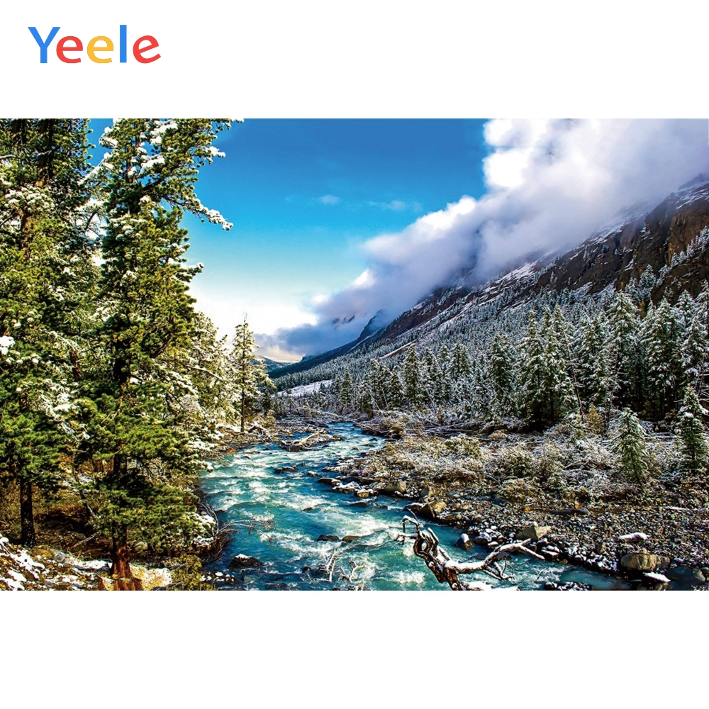 Yeele Winter Landscape Photocall Pine Forest River Photography Backdrops Personalized Photographic Backgrounds For Photo Studio in Background from Consumer Electronics