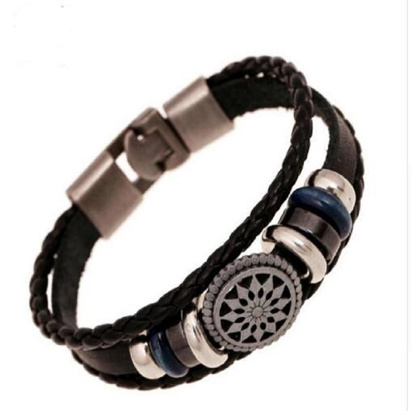 Punk Women//Men Cuff Bracelet Metal Tribal Jewelry Multilayer Leather Wrap