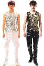 S-6XL!!! 2017  Men's clothing punk clothes paillette dj male ds vest male costume   The singer's clothing