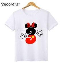 Kids Birthday Numbers Print O-Neck T Shirt Tees Summer Cute Princess Tops Children T-Shirt Boy/Girl Clothing,HKP3092