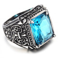 Mens Stainless Steel Ring, Vintage, Fashion, Blue, Crystal KR2018